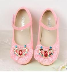 2018 shay The latest autumn girls single shoes, flat bottomed princess shoes, children autumn shoes, bow knots, sequins shoes