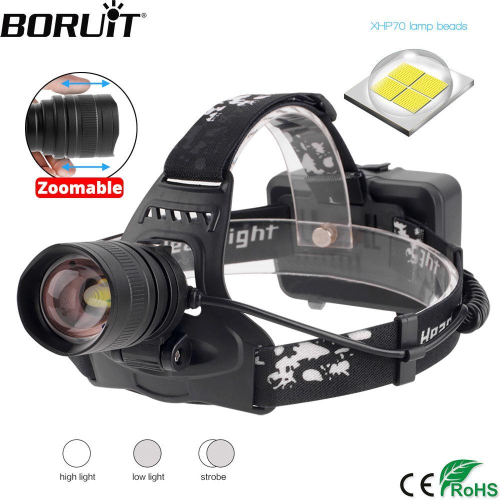 BORUiT 2806 XPH70.2 LED Headlamp Zoomable 3-Mode Headlight USB Charger Bank Head Head Torch Hunting Flashlight 18650 Battery