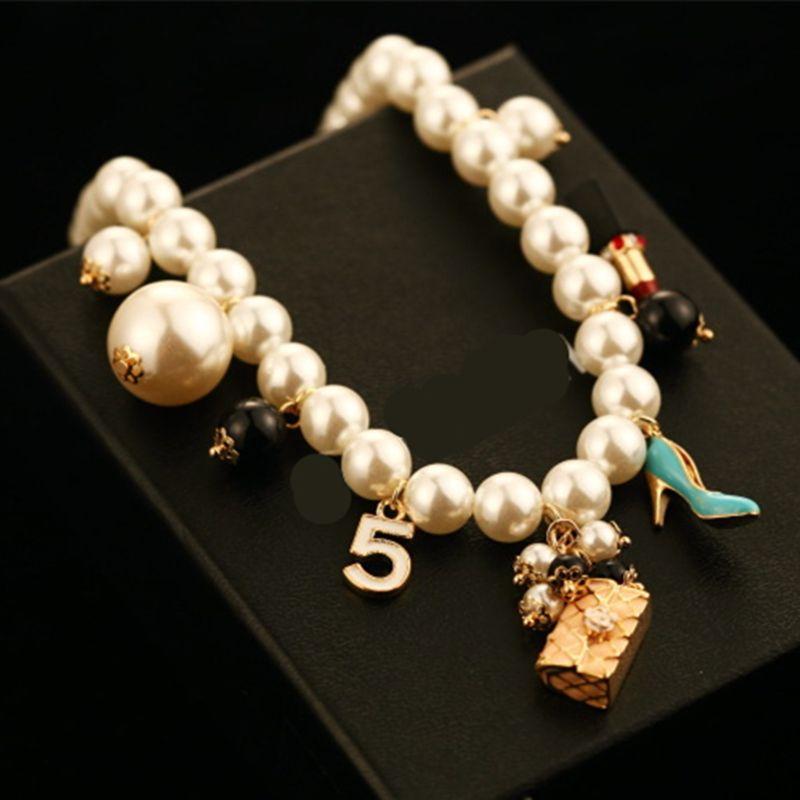 Cx-shirling tout nouveau luxe coloré perle pendentif lettre 5 pendentif femmes de haute qualité sac chaussures collier bijoux