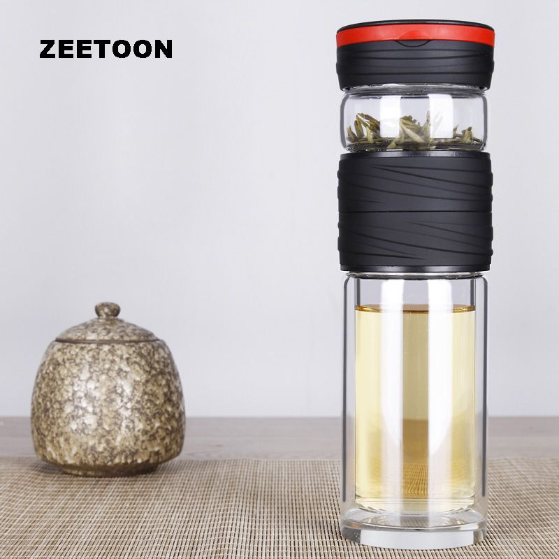 450ml Double Layer Mug practical Glass Double Wall Vacuum Insulation Water Bottle Tea separate Filter Cup Kettle Thermos Teacup