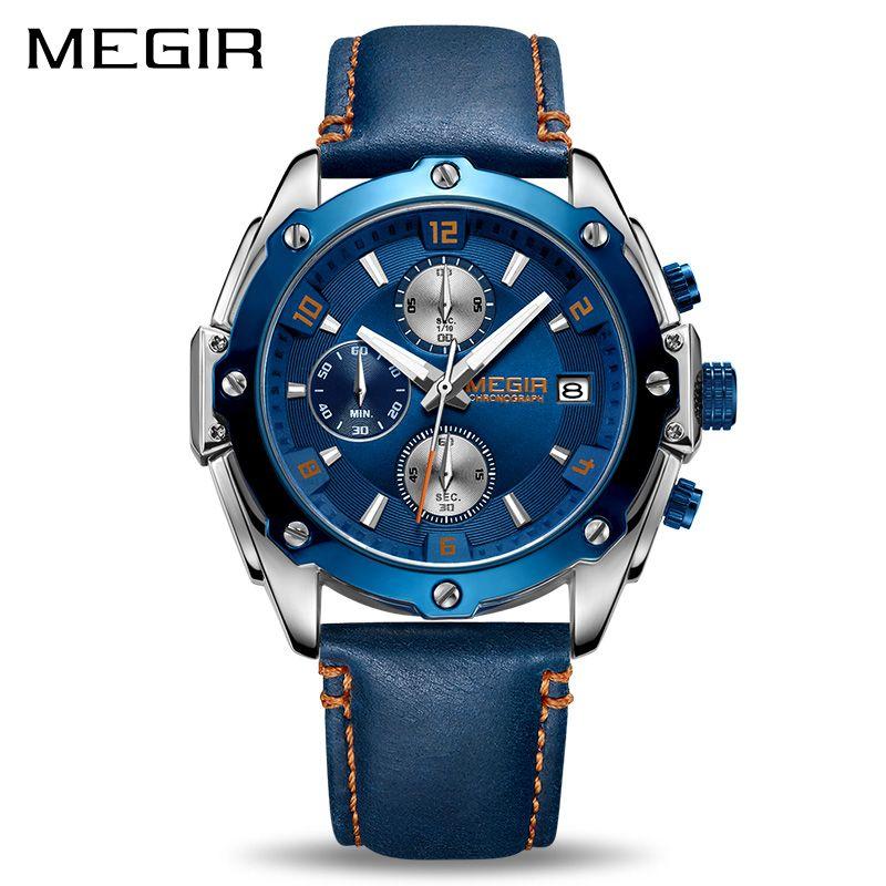 <font><b>MEGIR</b></font> Chronograph Men Watch Relogio Masculino Blue Leather Business Quartz Watch Clock Men Creative Army Military Wrist Watches