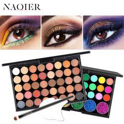 NAQIER макияж глаз Обнаженные Палитра 40 Цвет матовая палитра теней для век Блеск порошок тени для век земля набор кистей марки пигмент
