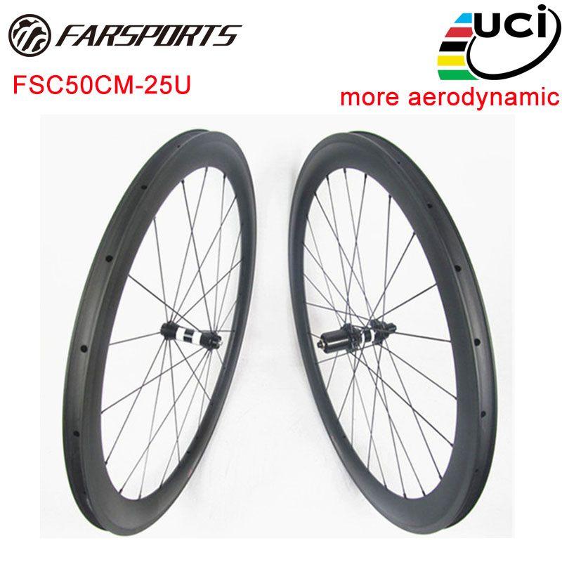 Far Sports FSC50CM-25U carbon road bike wheels , 50mm x 25mm clincher rims with aerodynamic , DT 350s hubs , Straight Pull