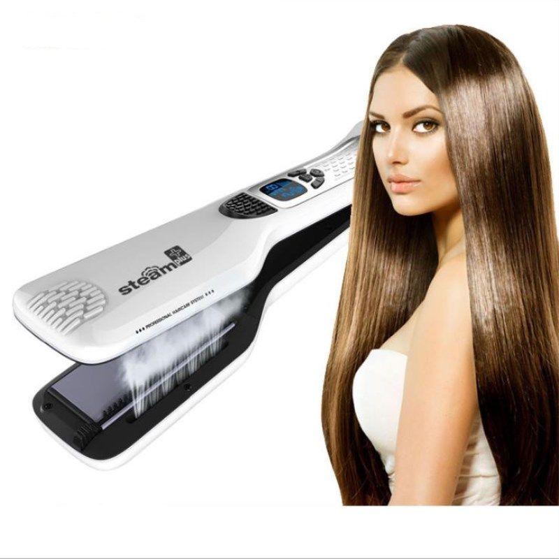 LCD Steam Spray Hair Straightener Curler Ceramic Electric Comb Electric Splint Straightener Hair Care Hair Styling Tool EU Plug