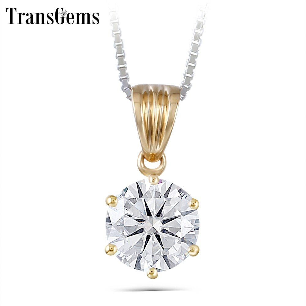 TransGems 1 Carat Lab Grown Moissanite Diamond Solitaire Slide Pendant Solid 18K Yellow Gold for Women Wedding Birthday Gift