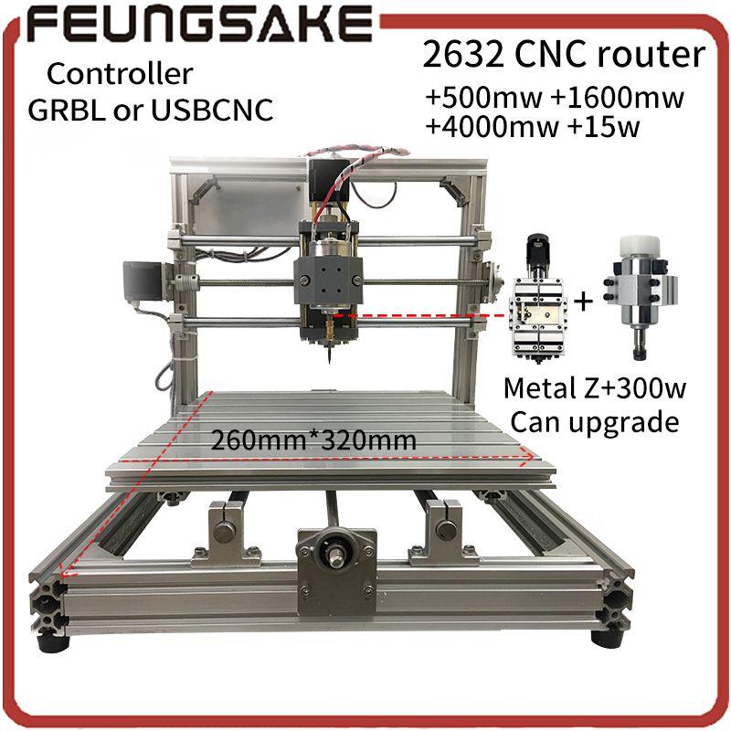 CNC Holz Router + 15 watt laser, GRBL Diy cnc-maschine, USBCNC mit 300 watt spindel carving 2632 + laser gravieren, offline pcb fräsmaschine