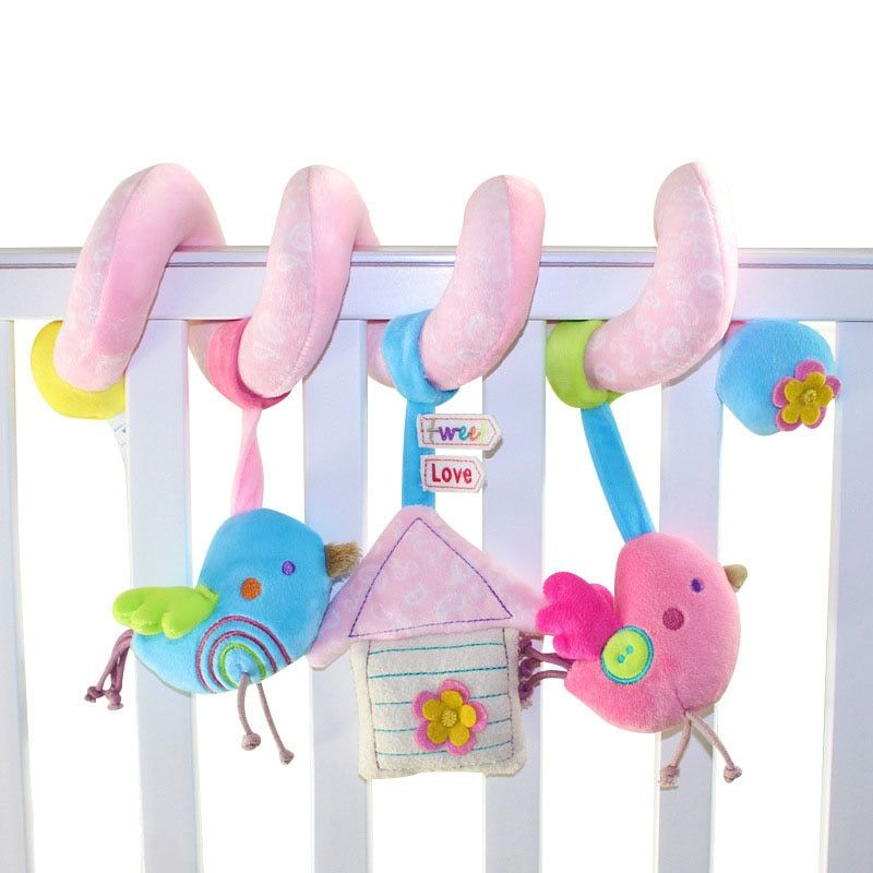 Spiral Activity Toy Bird Style Newborn Infant Baby Plush Toys Bed Stroller Car Playing Toys Musical Kids Baby Rattles gift