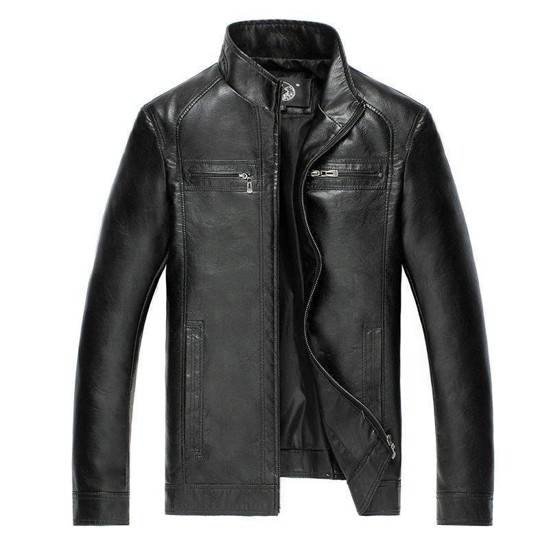AIBIANOCEL flambant neuf Hommes Faux vestes en cuir qualité supérieure Pu En Cuir Noir Brun 5XL Printemps Automne Hommes En Cuir Jaket Et Manteau