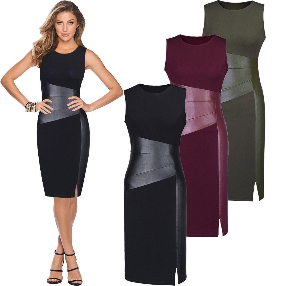 Sexy femmes sans manches Patchwork PU cuir robe vin rouge noir armée vert bas coupe moulante soirée robe crayon vêtements
