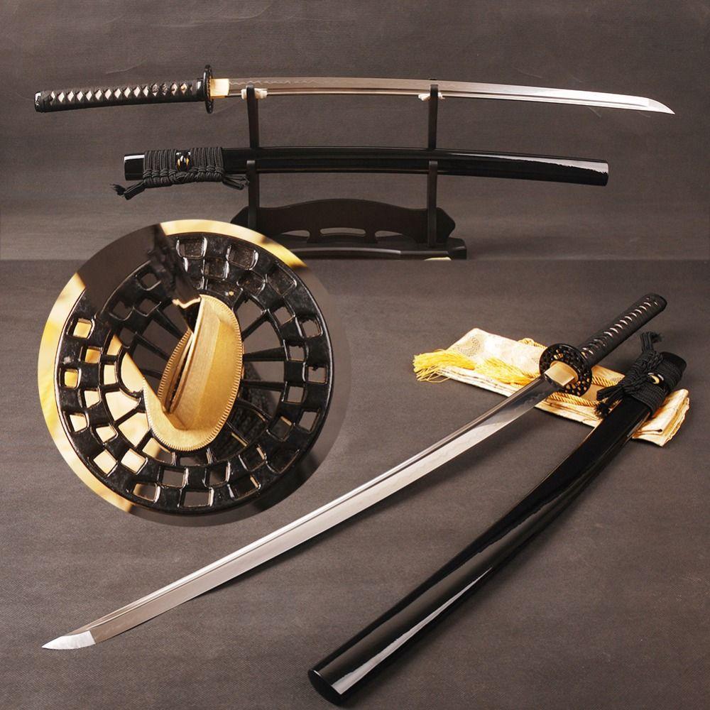 Full Tang Katana Japanischen Samurai Schwert T8 Ton Gehärtetem Klinge mit Lange Hallo Sharp Kann Scheibe Papier Metall Hause Dekoration präsentiert