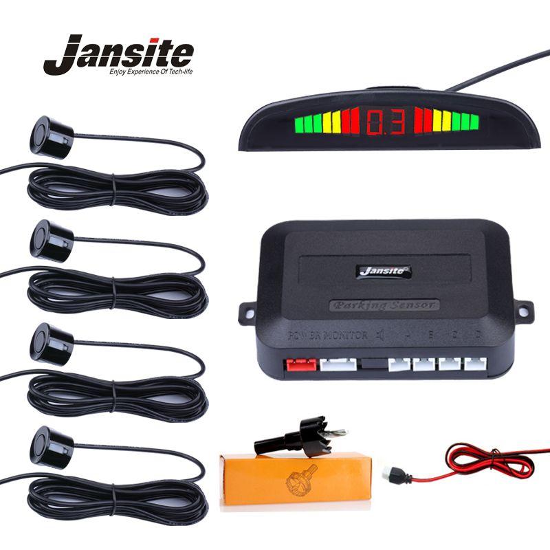 <font><b>Jansite</b></font> Universal Car LED Parking Sensor With 4 Sensors Car Reverse Assistance Backup Radar Monitor Detector System Buzzer