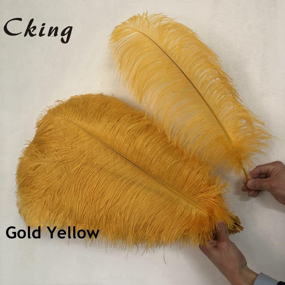 Cking 100 pcs/lot flauschigen straußen federn Gold Gelb feder für handwerk ostrich plumes hochzeit party dekoration 6- 24 zoll 15-60cm