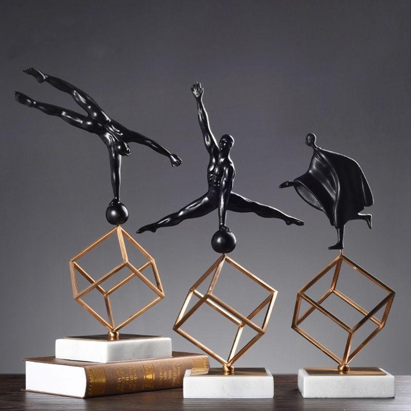 Scandinavian Desk Sculpture Model Gymnastics Sports Posture Figurines Display Living Room Decor Resin Marble Metal Handicrafts