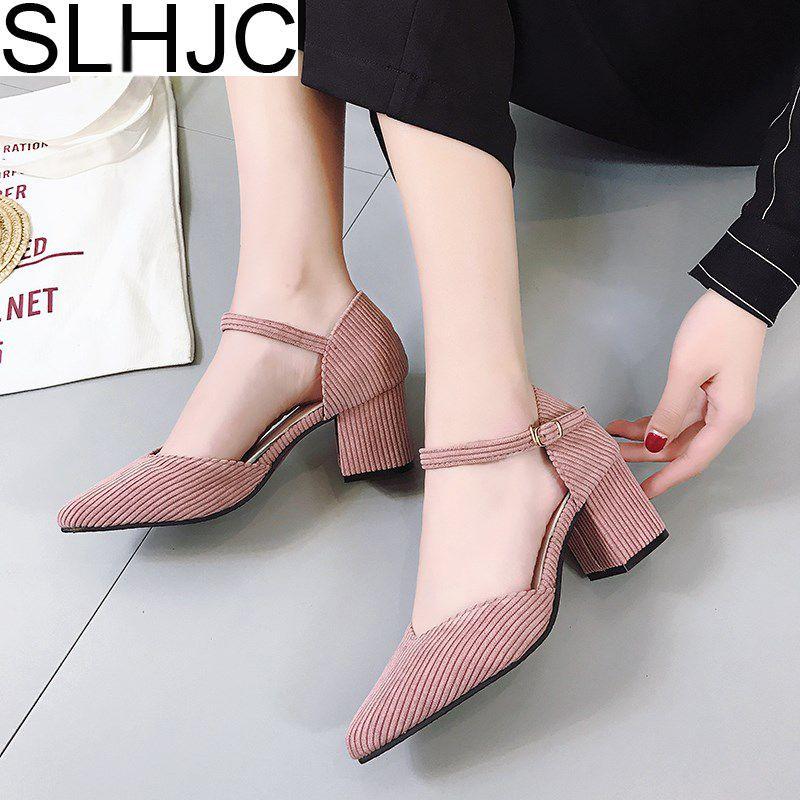 Slhjc 2018 Демисезонный острый носок туфли на высоком каблуке и пуговицы сексуальные V рот Насосы сандалии с ремешками на лодыжках