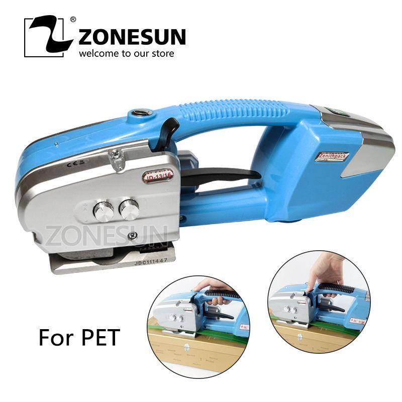 ZONESUN Elektrische strapper batterie powered umreifung maschine werkzeug reibung Schweißen maschine für 12-19mm PET strap halbautomatische