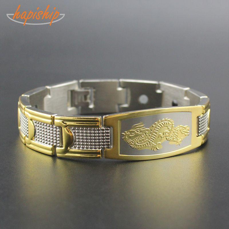 Hapiship 1 pièces New Mens Or Chinois Dragon Power Énergie Magnétique acier inoxydable Bracelet En Gros livraison directe TG4330