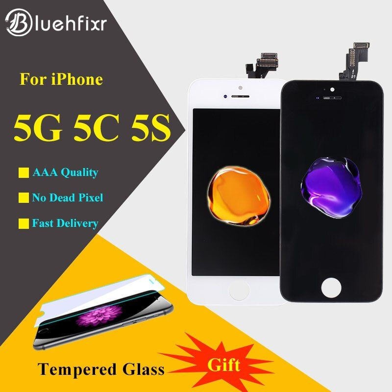AAA Qualité Écran Pour iPhone 5 5S 5C LCD Écran D'affichage et Digitizer Écran Tactile de Remplacement Pour iPhone 5S LCD Noir Blanc
