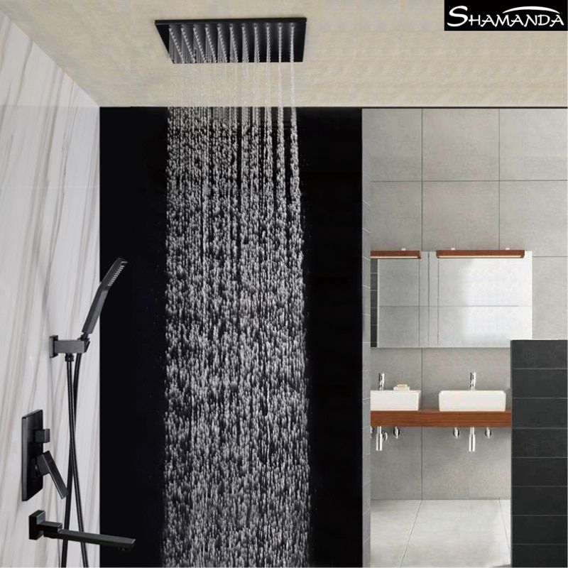 Bathroom Solid Brass Concealed Embedded Box Mixer Valve Various Style Black Wall/Ceiling Mounted Rainfall Shower Set with Spout