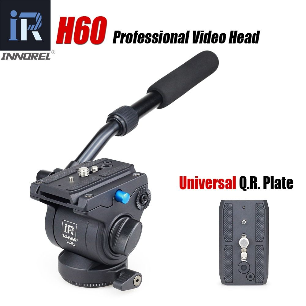 H60 Panoramic tripod head Hydraulic fluid video head for monopod slider Manfrotto 501PL plates compatible Better than JY0506H