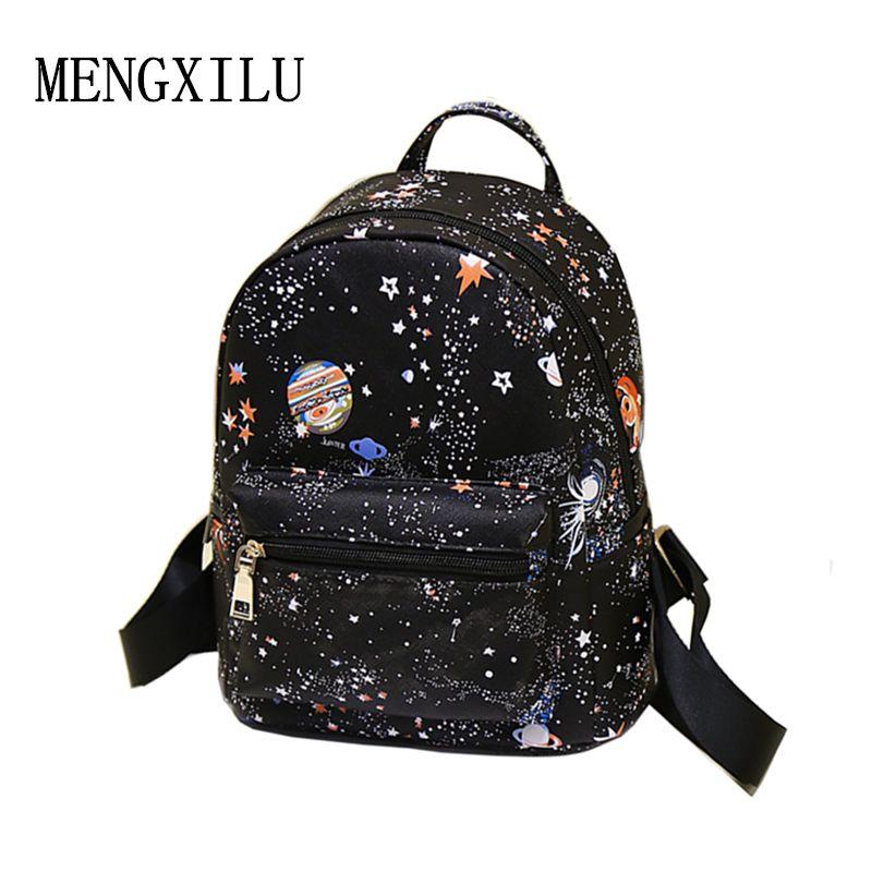Mode Star univers espace impression femmes en cuir Mochila Escolar sac à dos noir sacs d'école pour adolescentes petit sac à dos