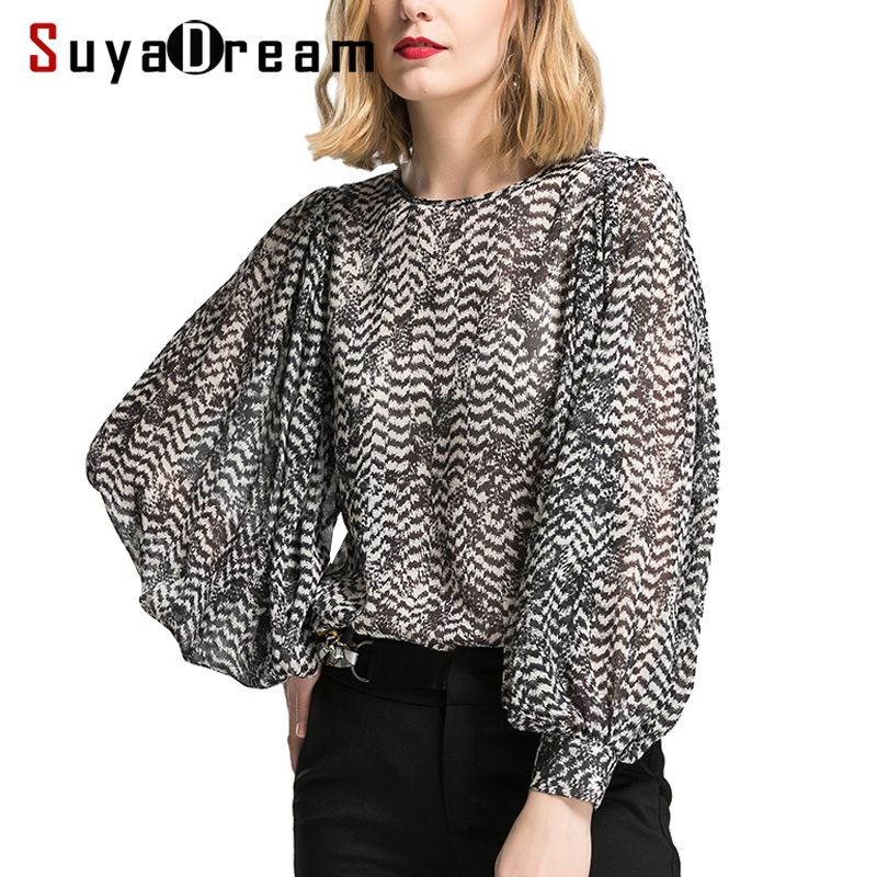 Women Blouse 100%Real silk Long sleeved Printed Fashion Transparent Blouses 2018 Spring New Top shirt