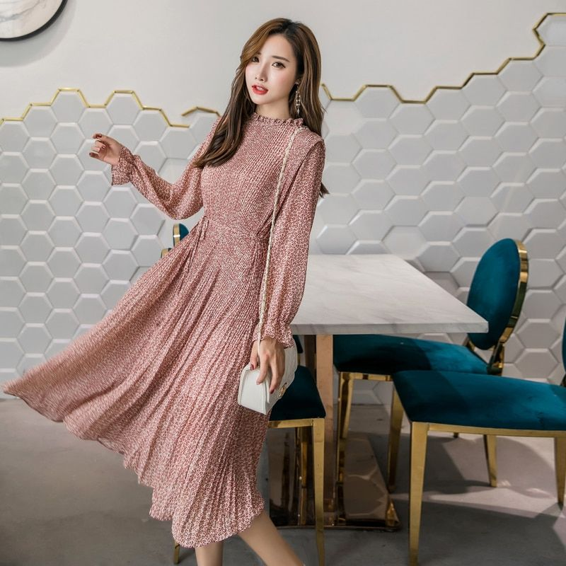 Elegant Stand Collar Floral Print Women Dress Full Sleeve Elastic Slim Waist Chiffon Spring A-line Long Dress 2019