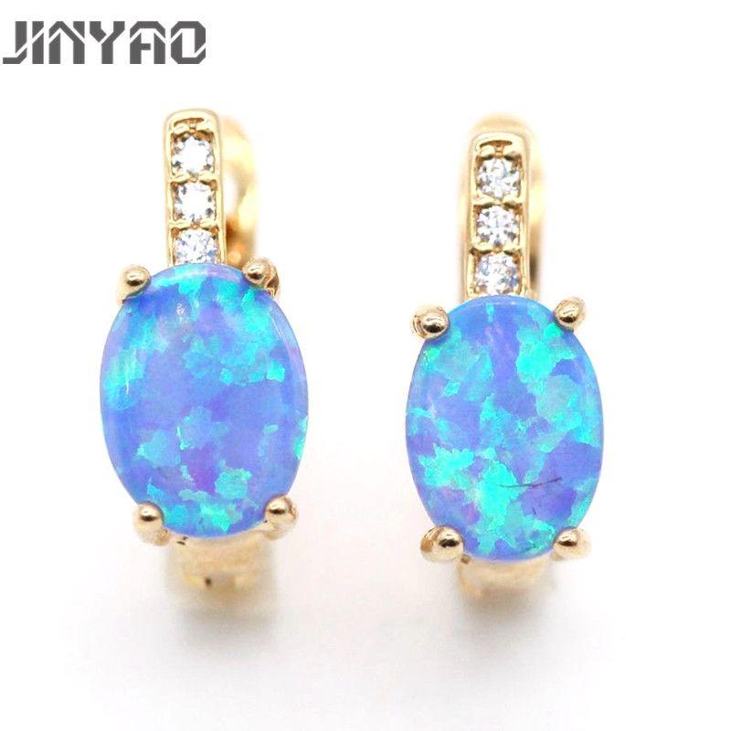 JINYAO bijoux meilleur cadeau romantique naturel opale de feu couleur or boucles d'oreilles pour les femmes anniversaire 5 couleurs