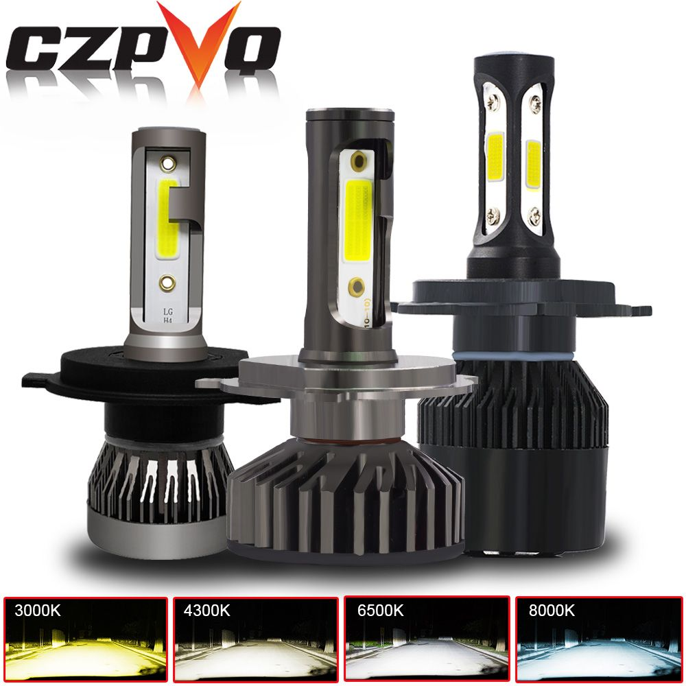 CZPVQ 2 Pcs Mini Size H4 H7 H11 LED Canbus 3000K 4300K 6500K 8000K Car Headlight H1 H3 H8 H9 9005 9006 880 LED Auto Fog Light