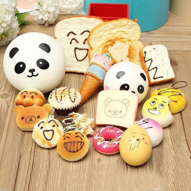 30pcs 20pcs 10pc Random DIY Funny Squishy Slow Rising Jumbo Squeeze Toast Cake Bread Panda ice Cream Phone Straps Toy Decoration