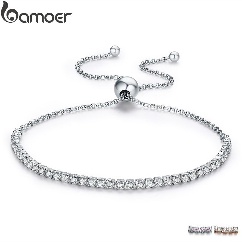 BAMOER FLASH DEALS 925 Sterling Silver Sparkling Strand Bracelet Women Link Tennis Bracelet Silver Jewelry SCB029