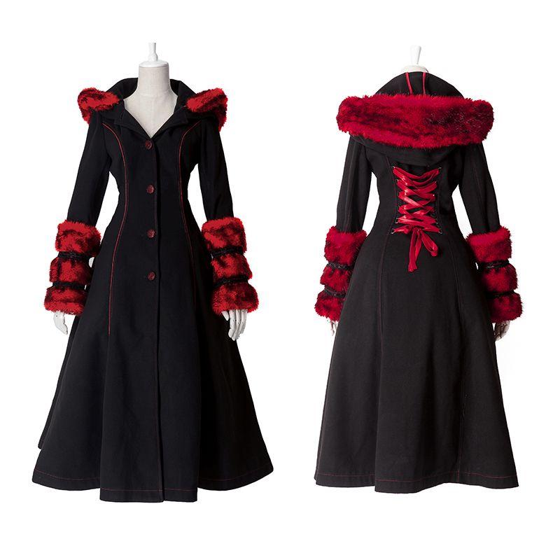 2018 Gothic Lolita Style Two-wear Woolen Imitation Fur Coat Steampunk Autumn Winter Fashion Long Sleeve Hooded Long Jackets