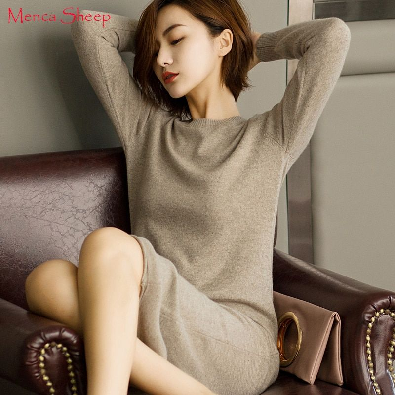 New Arrival Longer Pullovers Women 100% Pure Cashmere Knitwear Ladies Oneck Fashion Jumpers Hot Sale long sweater dress Female