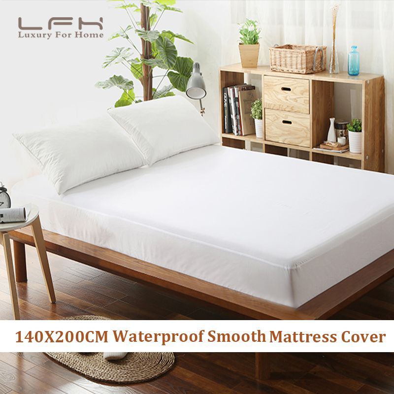 LFH 140X200CM Eco Friendly 100% Waterproof <font><b>Smooth</b></font> polyester Mattress cover Bed Padded Mattress Cover Antibacterial Bed Cover
