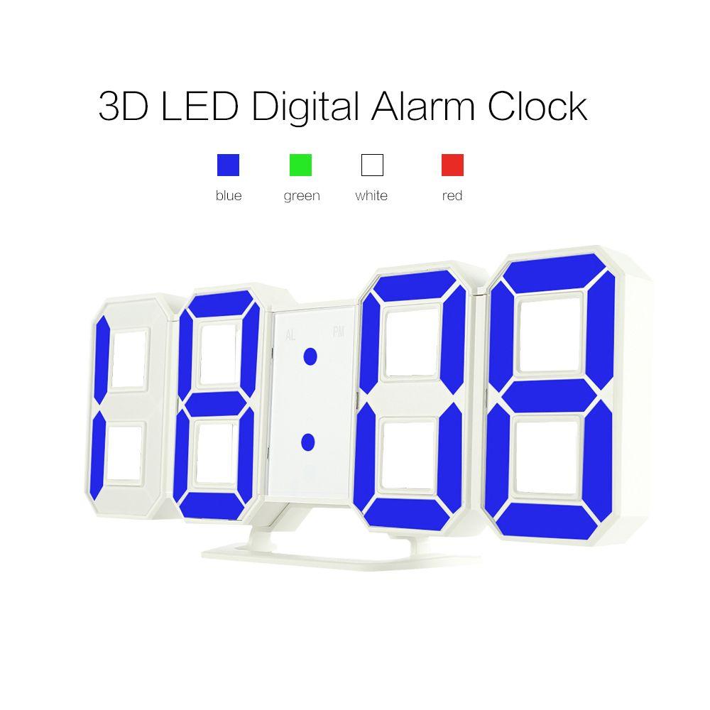 Original Modern Wall Clock Digital 3D LED Table Clock Watches 12/24 Hours Display Clock mechanism Alarm Snooze <font><b>Desk</b></font> Alarm Clock