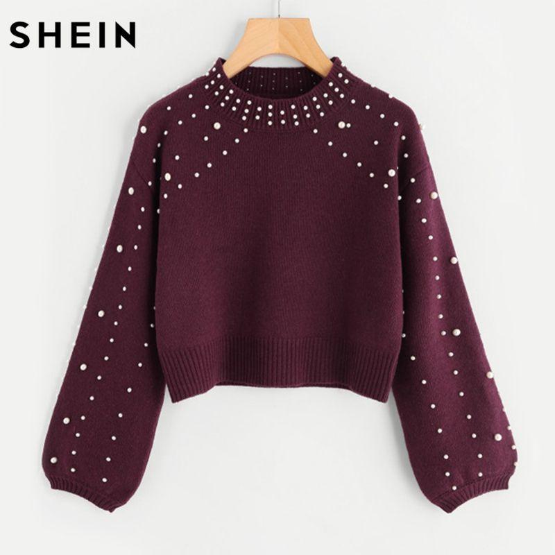 SHEIN Bishop Sleeve Pearl Beading Crop Sweater Burgundy Woman Sweater Pullovers Autumn Long Sleeve Elegant Pullovers