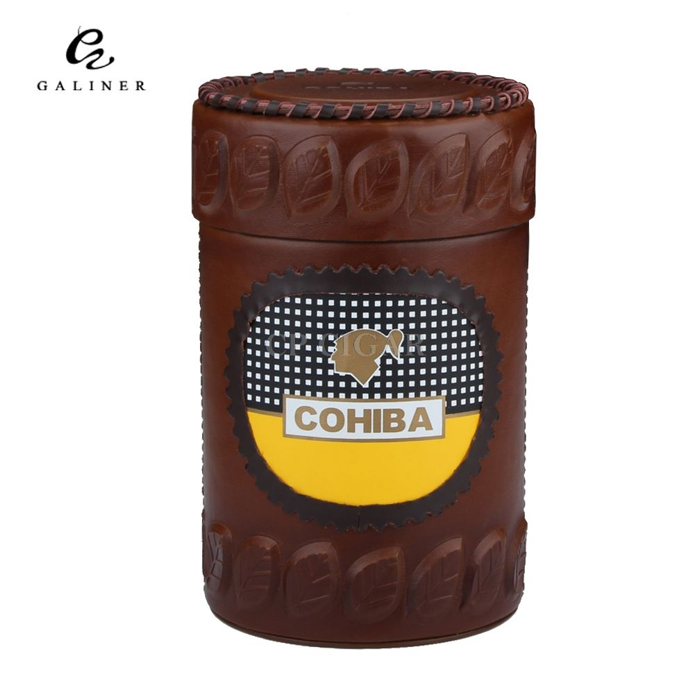 COHIBA Leather Cigar Humidor Cedar Lined Cigar Jar Tube with Hygrometer Humidifier