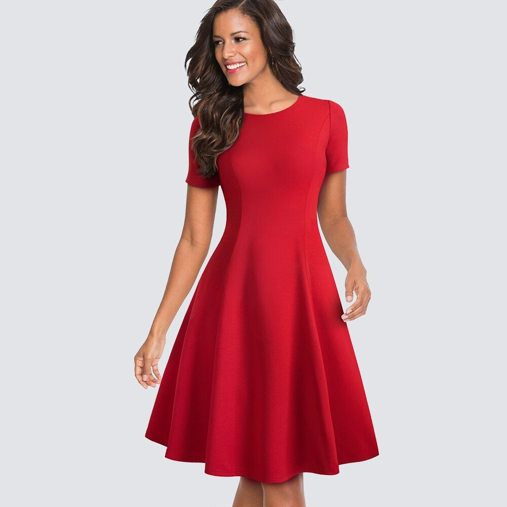 Women Casual Summer Fit And Flare Swing Elegant Party A-line Skater Dress HA110