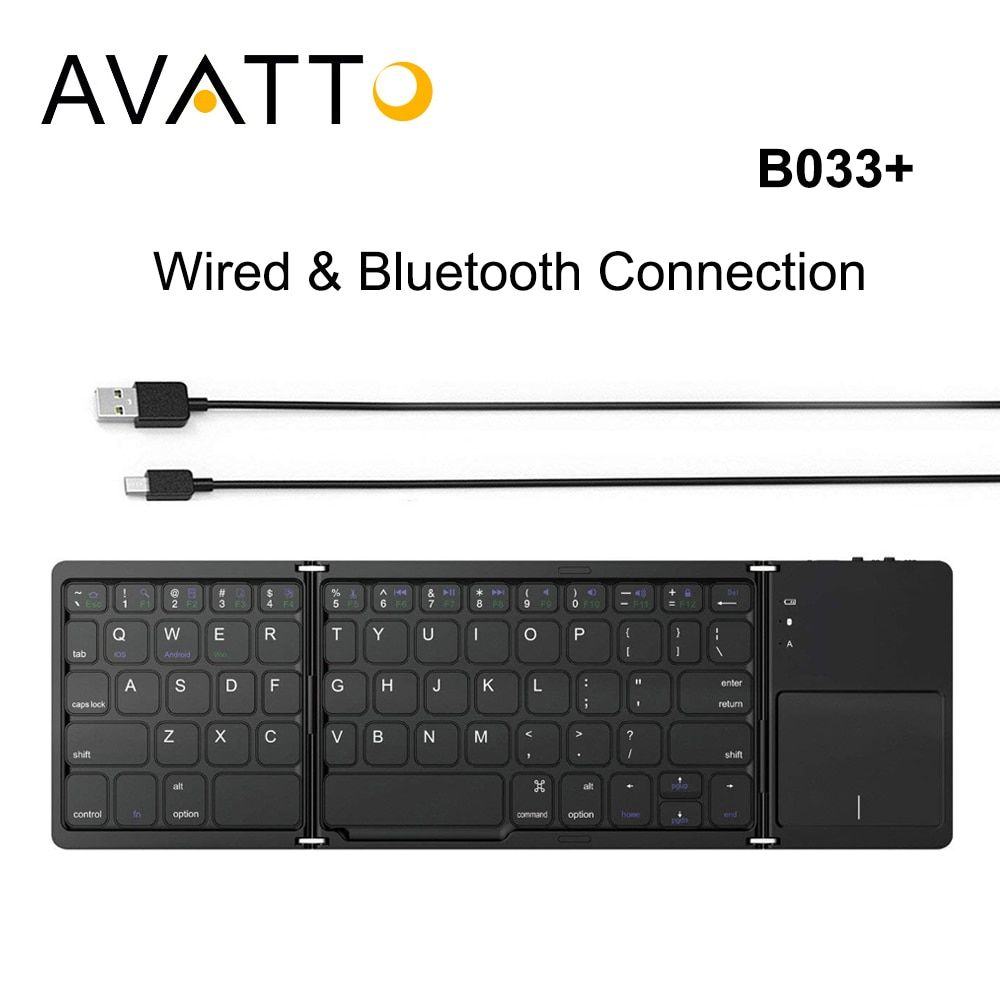 AVATTO B033+ Folding Mini Keyboard Bluetooth Foldable Wireless Keypad with Touchpad for Windows,Android,ios Tablet ipad Phone