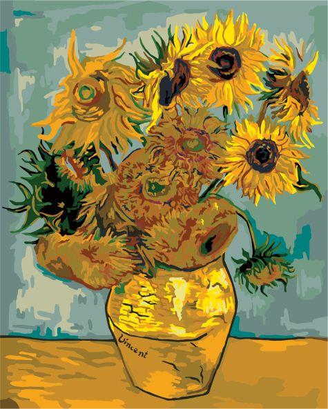 Tableau sans cadre à faire soi-même par numéros peint à la main sans cadre van gogh tournesols peinture abstraite peintures murales peinture décorative B009