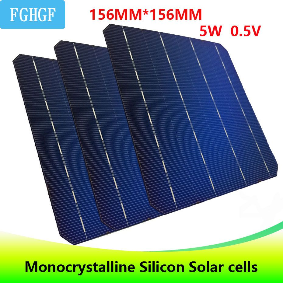 123PCS 5W 0.5V A Grade 156 * 156MM 6*6 PV cheap Monocrystalline Silicon Solar Cells 6x6 615W For DIY Solar Panel