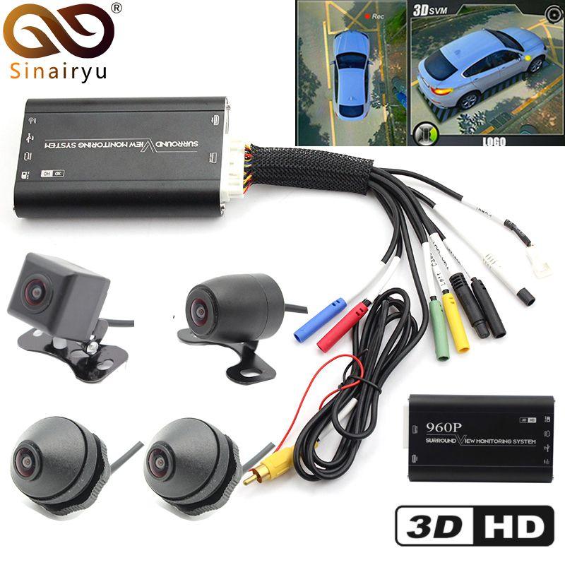 Sinairyu HD 3D 360 Surround View Fahren Unterstützung Vogel Ansicht Panorama System 4 Auto Kamera 960 p Auto DVR Video recorder Box G-Sensor