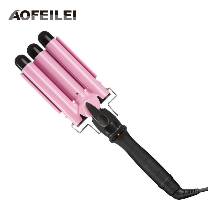 Professional 110-220v Hair Curling Iron Ceramic Triple Barrel Hair Curler Deep Pearl Waving Curly Styling Tool Splint Wave Wand