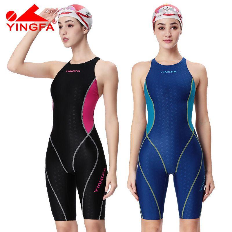 Yingfa professionnel compétition maillot de bain femmes filles une pièce maillots de bain enfants formation maillots de bain course sharkskin genou maillot de bain