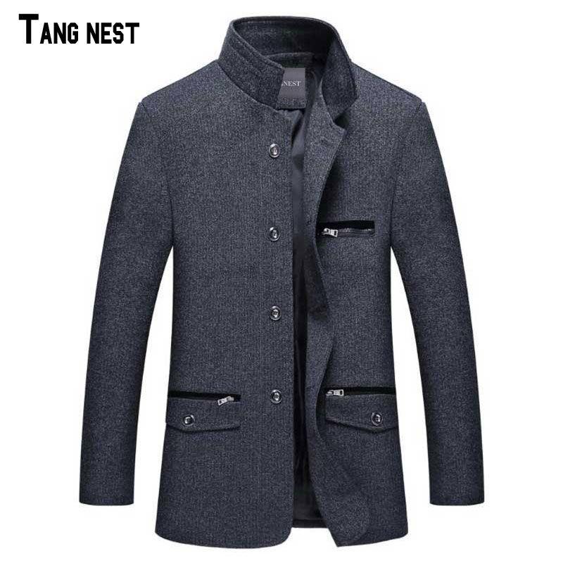 TANGNEST/2018 г. новое поступление Мужская мода зима Однобортный Блейзер костюм мужской Slim Fit Новый Воротник Дизайн костюм mwx125