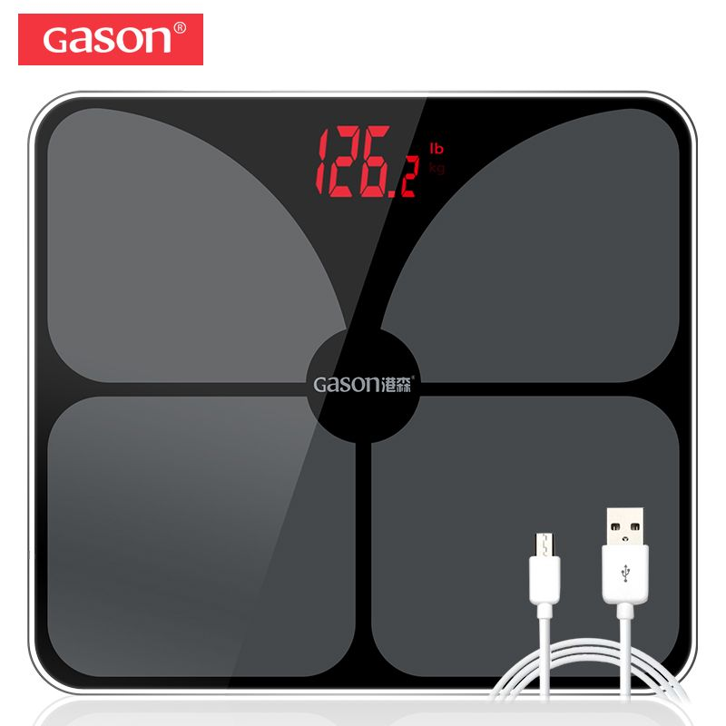 GASON A3s USB Charging Scales LED Digital Display Weight Weighing Floor Electronic Smart <font><b>Balance</b></font> Body Household Bathrooms 180KG
