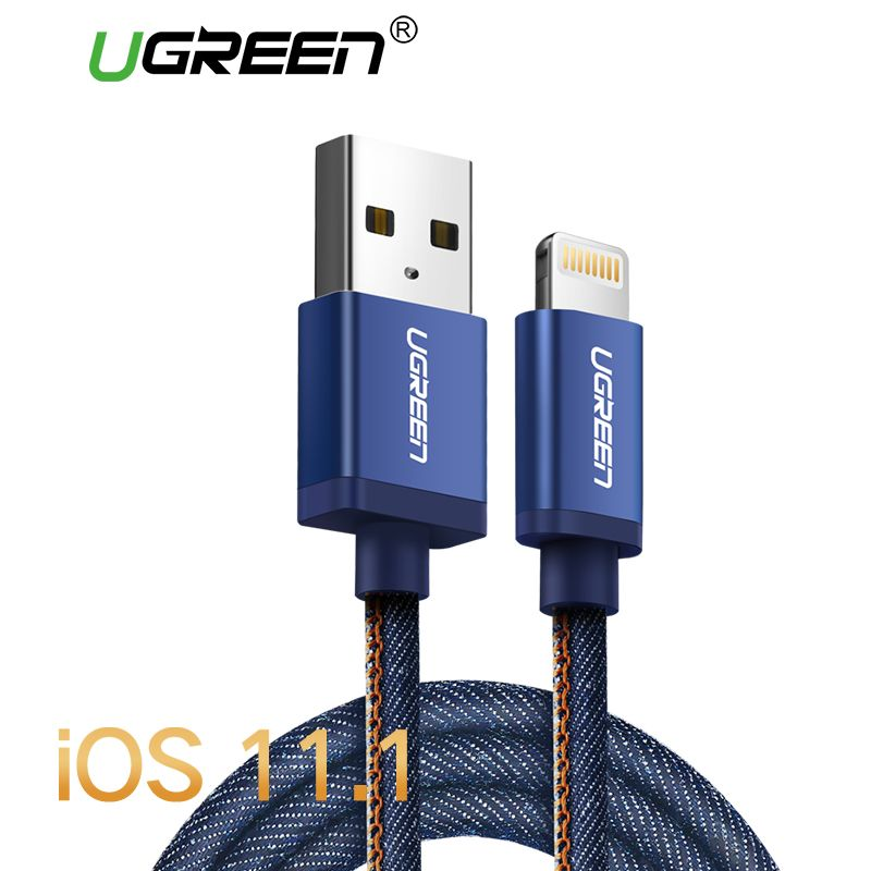 Ugreen MFi Lightning Cable For iPhone 7 Denim Braided 8 Pin USB Cable Fast Charger Data Cable for iPhone 8 8 Plus 6 5 iPad Cable