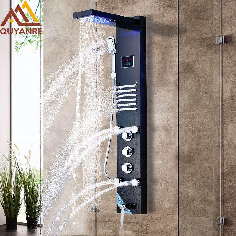 Quyanre Schwarz LED Dusche Panel Regen Wasserfall Dusche Temperatur Bildschirm Massage SPA Jet Drei Griffe Mischbatterie Waschbecken Wasserhahn Set