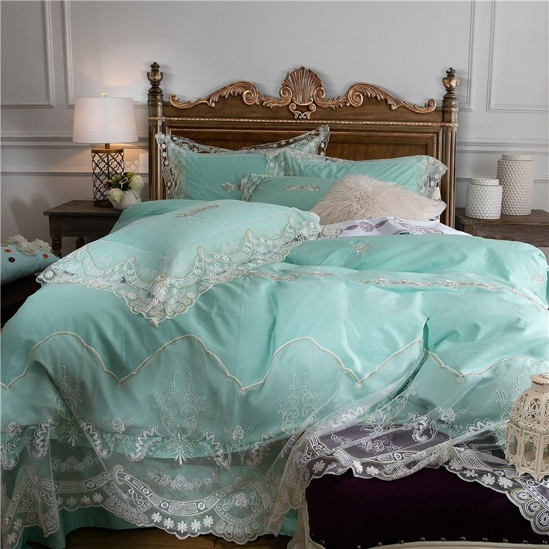 luxury korea princess bedding sets egyptian cotton lace bedclothes queen king size 4/6pcs duvet cover set bed linen pillowcase