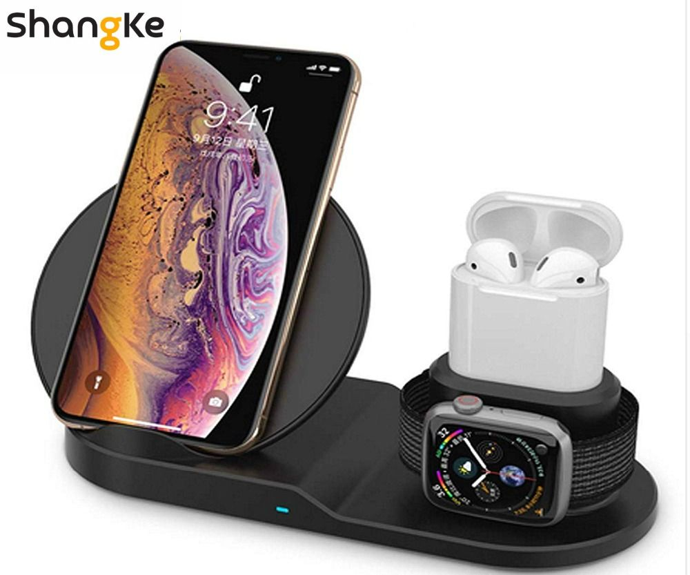 Wireless Charger,3 in 1 Wireless Charging Stand for Apple Watch,Charging Station for Airpods,Fast Wireless Charger Dock (Black)