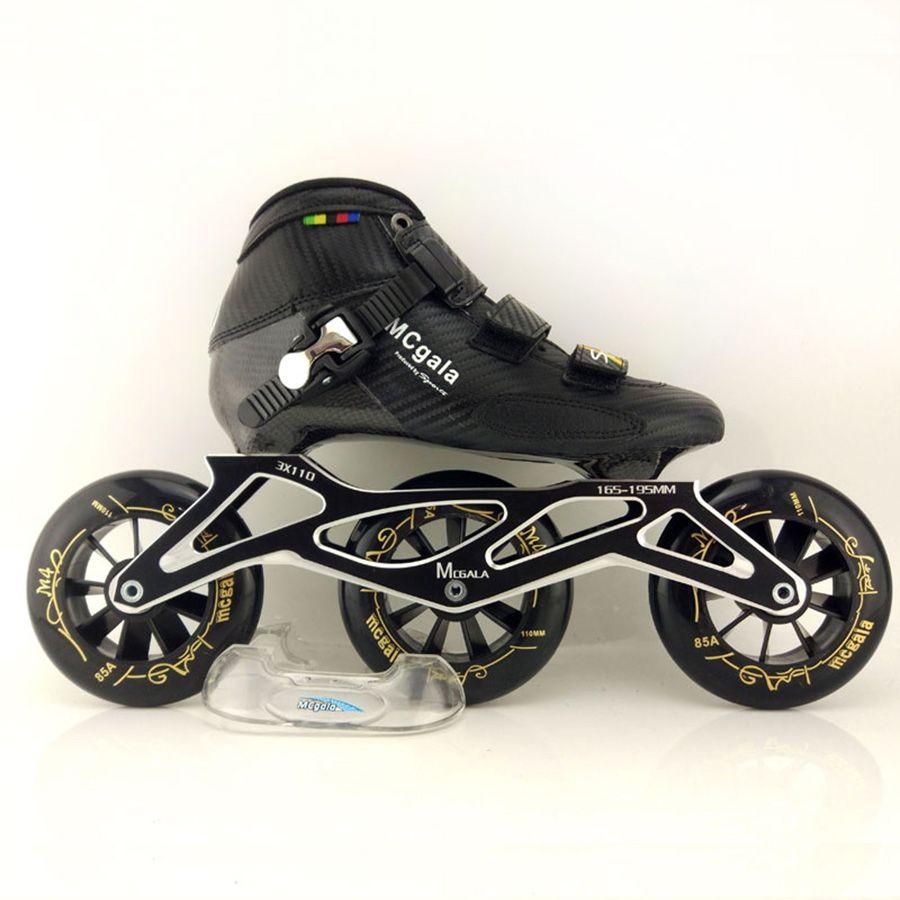 Glas Faser Stiefel Professionelle Geschwindigkeit Inline Skates Frauen Männer 3*110mm Räder Wettbewerb Roller Skating Schuhe Racing Patines